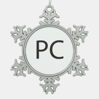 Personal Computer -or- Politically Correct.ai Pewter Snowflake Decoration