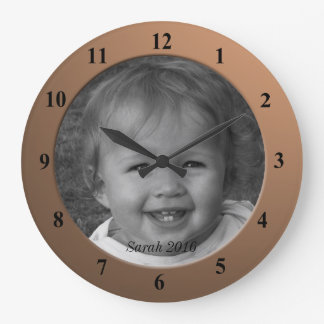 Personal Custom Photo and Text Bronze Frame Large Clock