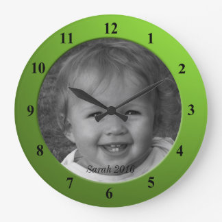 Personal Custom Photo and Text Lime Green Frame Large Clock