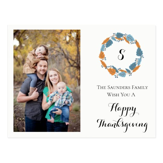 Personal Family Photo Card | Thanksgiving Wreath
