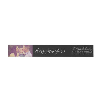 Personal Greeting Happy New Year with Photo Skinny Wrap Around Label
