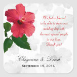 Personal Message Hibiscus Favour Labels Square Stickers