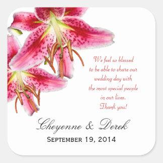 Personal Message Stargazer Lily Square Sticker