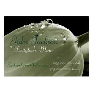 Personal Mommy Card; Tulip Green Raindrops Business Card Templates