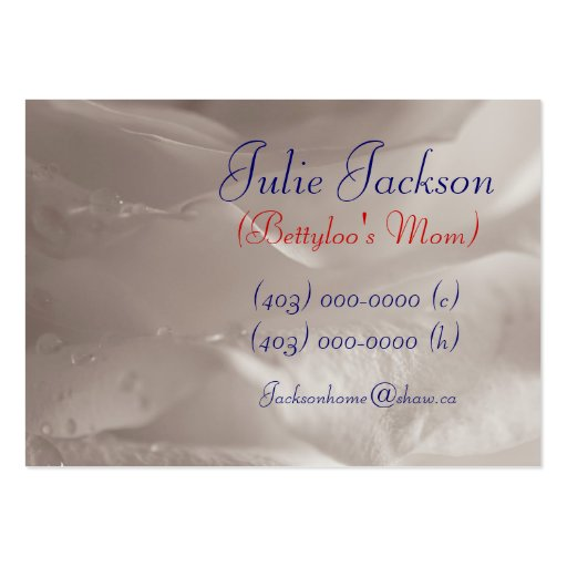 Personal Mommy Card; White Rose Raindrops Business Card Template