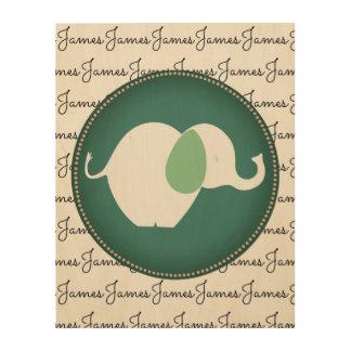 Personal Name Cute Elephant Nursery Room Wood Art