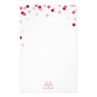 PERSONAL NOTE cute bright confetti red pink gold Stationery