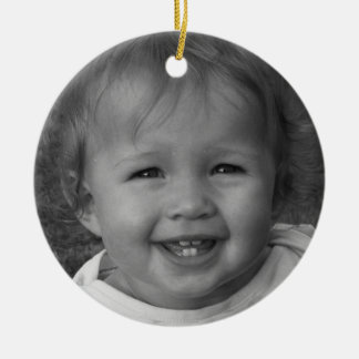 Personal Photo and Custom Text Red Christmas Ornament