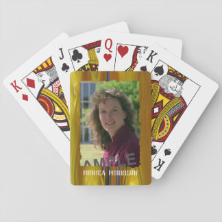 Personal photo and name on colourful abstract playing cards