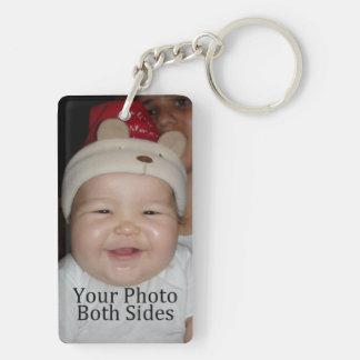 Personal Photo Double-Sided Rectangular Acrylic Key Ring