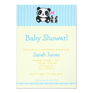 Personal Photo Panda Baby Shower - Blue & Orange 13 Cm X 18 Cm Invitation Card