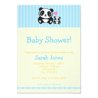 Personal Photo Panda Baby Shower - Blue & Orange 5x7 Paper Invitation Card