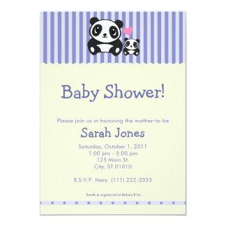 Personal Photo Panda Baby Shower - Blue & Orange Announcement