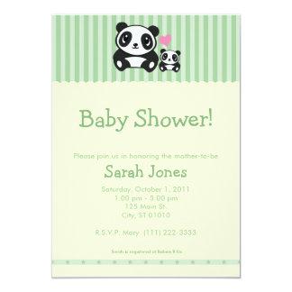 Personal Photo Panda Baby Shower - Green 13 Cm X 18 Cm Invitation Card
