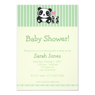 Personal Photo Panda Baby Shower - Green 5x7 Paper Invitation Card