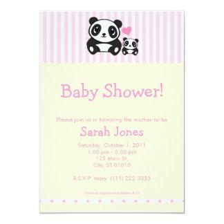Personal Photo Panda Baby Shower - Pink 13 Cm X 18 Cm Invitation Card
