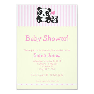 Personal Photo Panda Baby Shower - Pink 5x7 Paper Invitation Card
