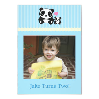 Personal Photo Panda Birthday Invitation - Blue