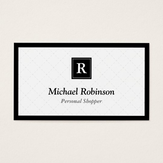 Personal Shopper - Simple Elegant Monogram Business Card