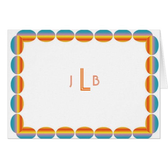Personal Stationery - Colourful Ovals Monogram Card