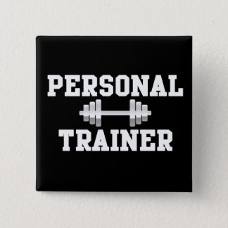 Personal Trainer Black and White Dumbell Training 15 Cm Square Badge