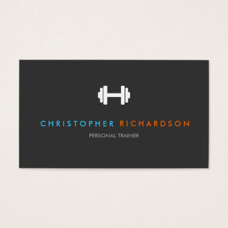PERSONAL TRAINER LOGO with BLUE and ORANGE TEXT Business Card
