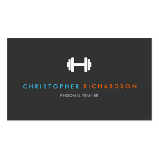 PERSONAL TRAINER LOGO with BLUE and ORANGE TEXT Business Card Templates