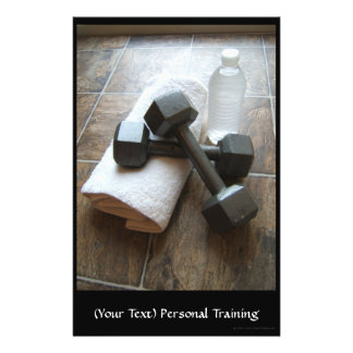 Personal Trainer or Fitness Dumbells Towel & Water 14 Cm X 21.5 Cm Flyer