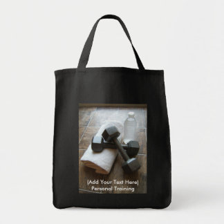 Personal Trainer or Fitness Dumbells Towel Water Canvas Bag