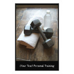 Personal Trainer or Fitness Dumbells Towel & Water Full Color Flyer