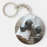 Personal Trainer or Fitness Dumbells Towel & Water Keychains