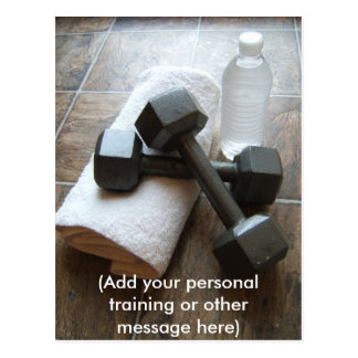 Personal Trainer or Fitness Dumbells Towel Water Post Card