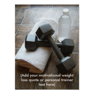Personal Trainer or Fitness Dumbells Towel Water Posters