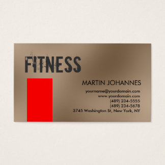 Personal Trainer Red Beige Business Card