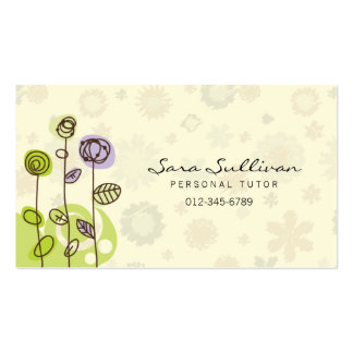 Personal Tutor Business Card Doodle Line Flowers