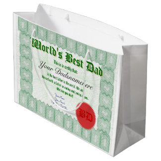 personal World's Best Dad Certificate Large Gift Bag