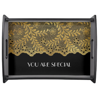 Personaliesed Golden Royal Lace Serving Trays