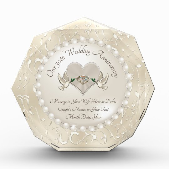 Personalise 30th Wedding Anniversary Gift For Wife Zazzle Co Uk