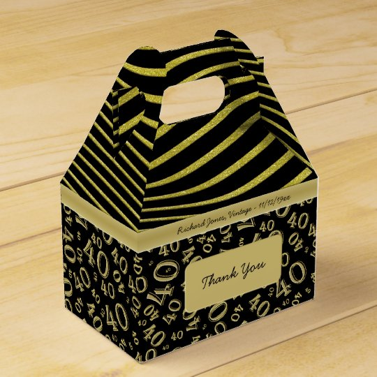 Personalise: 40th Birthday Gold and Black Theme Favour