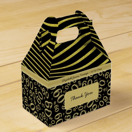 Personalise: 60th Birthday Gold and Black Theme Favour