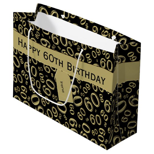 Personalise 60th Birthday Gold Black Theme Large Gift Bag