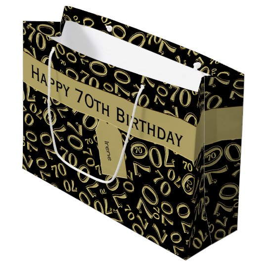 Personalise 70th Birthday Gold Black Theme Large Gift Bag