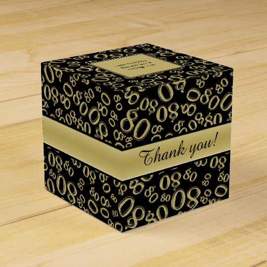 Personalise: 80th Birthday Party Gold/Black Favour Boxes