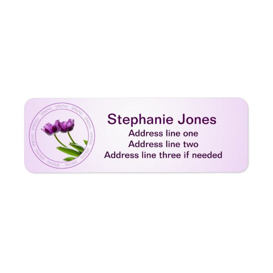 Personalise: Address Template Purple Tulips Photo