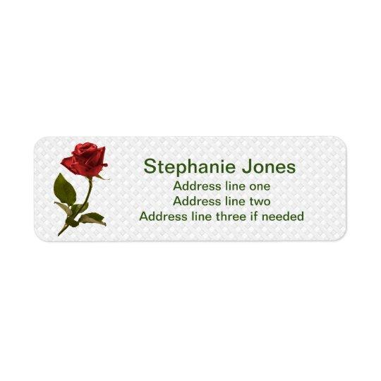 Personalise: Address Template Red Rose Photo Return Address Label
