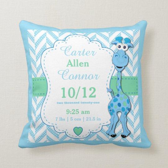 Personalise - Baby Blue Giraffe Cushion