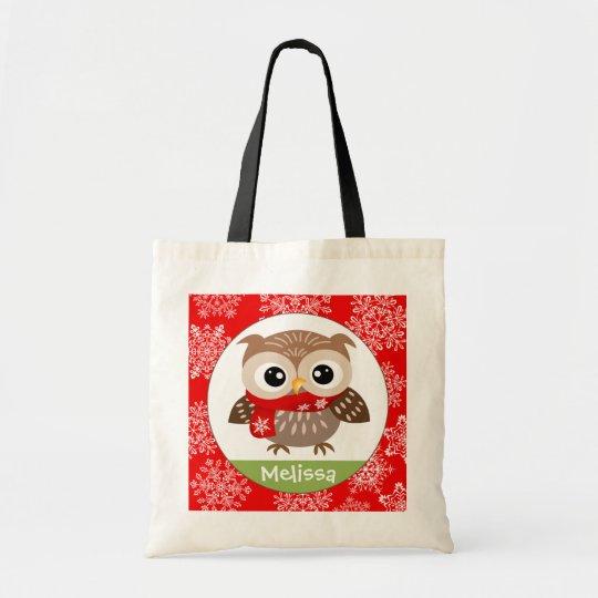 Personalise Baby Owl in Snowflakes Tote Bag
