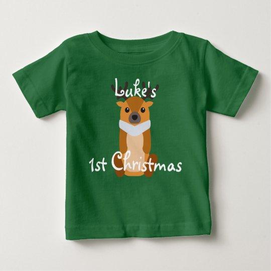 Personalise Baby's First Christmas Cute Reindeer Baby