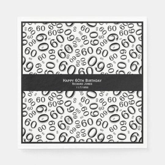 Personalise: Black and White 60th Birthday Theme Disposable