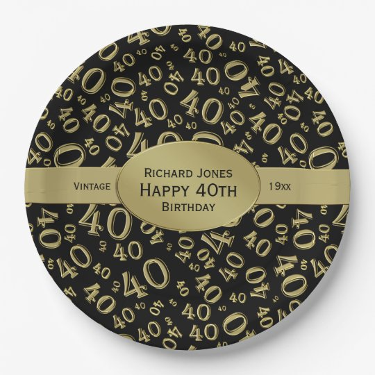 Personalise: Black/Gold 40th Birthday Party Theme Paper Plate